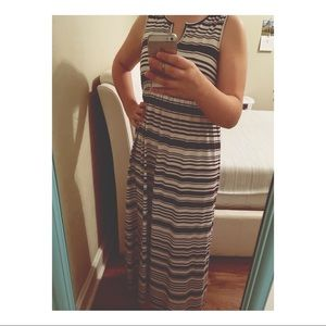 White and Blue Striped Maxi Dress